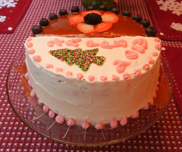 Frankencake - half lingonberry, half caramel cake.